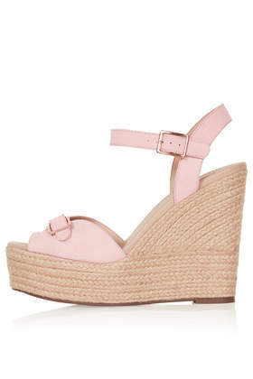 Wish Buckle Espadrilles - predominant colour: blush; occasions: casual; material: fabric; heel: wedge; toe: open toe/peeptoe; style: standard; finish: plain; pattern: plain; heel height: very high; shoe detail: platform; season: s/s 2014