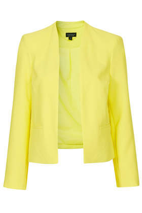 Cara Crop Jacket - pattern: plain; style: cropped; collar: round collar/collarless; predominant colour: yellow; occasions: casual, creative work; length: standard; fit: tailored/fitted; fibres: polyester/polyamide - 100%; sleeve length: long sleeve; sleeve style: standard; collar break: low/open; pattern type: fabric; texture group: woven light midweight; trends: hot brights; season: s/s 2014