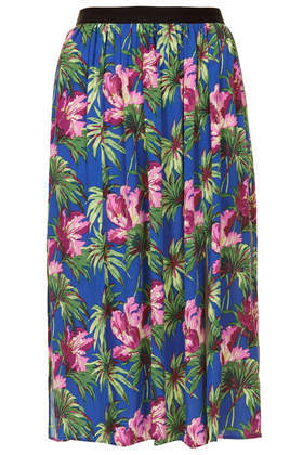 Hibiscus Spliced Midi Skirt - length: below the knee; fit: loose/voluminous; waist: high rise; occasions: casual, holiday; style: a-line; fibres: viscose/rayon - 100%; predominant colour: multicoloured; pattern type: fabric; pattern: florals; texture group: other - light to midweight; season: s/s 2014; pattern size: standard (bottom); multicoloured: multicoloured