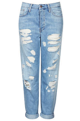 Moto Pretty Bleached Ripped Hayden Jeans - style: boyfriend; pattern: plain; pocket detail: traditional 5 pocket; waist: mid/regular rise; predominant colour: denim; occasions: casual; length: ankle length; fibres: cotton - stretch; jeans detail: whiskering, washed/faded; jeans & bottoms detail: turn ups; texture group: denim; pattern type: fabric; season: s/s 2014