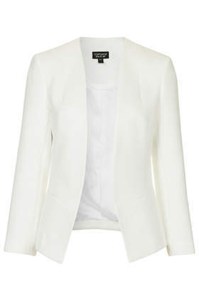 Textured Snakeskin Blazer - pattern: plain; style: single breasted blazer; collar: round collar/collarless; predominant colour: ivory/cream; occasions: casual, evening, occasion, creative work; length: standard; fit: tailored/fitted; fibres: polyester/polyamide - 100%; sleeve length: long sleeve; sleeve style: standard; collar break: low/open; pattern type: fabric; texture group: woven light midweight; season: s/s 2014