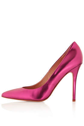 Gwenda Pink Mirror Courts - predominant colour: hot pink; occasions: evening, occasion; material: leather; heel: stiletto; toe: pointed toe; style: courts; finish: metallic; pattern: plain; heel height: very high; trends: hot brights, shimmery metallics; season: s/s 2014