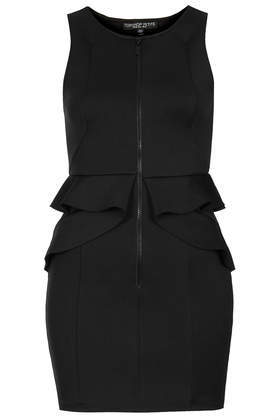 Petite Zip Front Peplum Bodycon Dress - style: shift; length: mid thigh; neckline: round neck; fit: tight; pattern: plain; sleeve style: sleeveless; waist detail: peplum waist detail; predominant colour: black; occasions: evening; fibres: polyester/polyamide - stretch; sleeve length: sleeveless; pattern type: fabric; texture group: jersey - stretchy/drapey; season: s/s 2014