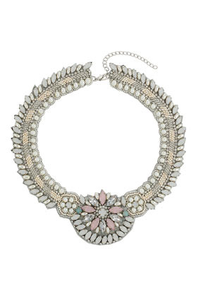 Pretty Stone Collar - occasions: casual, evening, occasion; predominant colour: multicoloured; length: short; size: large/oversized; material: chain/metal; finish: metallic; embellishment: jewels/stone; style: bib/statement; season: s/s 2014; multicoloured: multicoloured