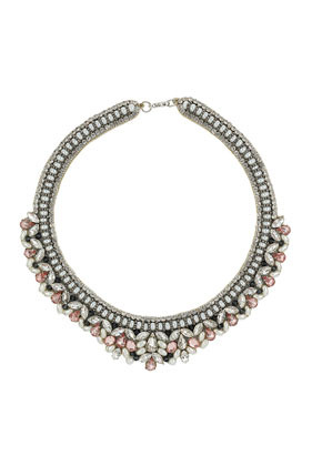 Pink Stone Collar - occasions: casual, evening, occasion; predominant colour: multicoloured; length: short; size: standard; material: chain/metal; finish: metallic; embellishment: jewels/stone; style: bib/statement; season: s/s 2014; multicoloured: multicoloured