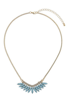 Blue Petal Stone Necklace - predominant colour: pale blue; secondary colour: gold; occasions: casual, evening, occasion; style: pendant; length: short; size: standard; material: chain/metal; finish: plain; embellishment: jewels/stone; season: s/s 2014