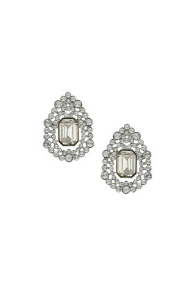 Teardrop Sparkle Stone Earrings - secondary colour: silver; occasions: casual, evening, occasion; style: stud; length: short; size: standard; material: chain/metal; fastening: pierced; finish: plain; embellishment: crystals/glass; predominant colour: clear; season: s/s 2014