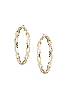 Looped Hoop Earrings - predominant colour: gold; occasions: casual, evening, creative work; style: hoop; length: mid; size: standard; material: chain/metal; fastening: pierced; finish: metallic; season: s/s 2014