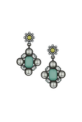 Green Rectangle Stone Earrings - occasions: evening, occasion; predominant colour: multicoloured; style: drop; length: mid; size: standard; material: chain/metal; fastening: pierced; finish: plain; embellishment: jewels/stone; season: s/s 2014; multicoloured: multicoloured