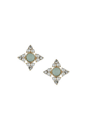 Pastel Green Stone Stud Earrings - predominant colour: pistachio; occasions: casual, evening, occasion; style: stud; length: short; size: small/fine; material: chain/metal; fastening: pierced; finish: plain; embellishment: pearls; secondary colour: clear; season: s/s 2014