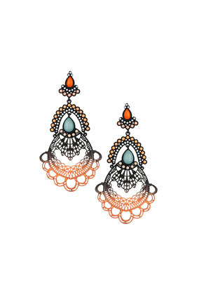 Cut Out Chandelier Earrings - occasions: evening, occasion; predominant colour: multicoloured; style: chandelier; length: long; size: standard; material: chain/metal; fastening: pierced; finish: plain; embellishment: jewels/stone; season: s/s 2014; multicoloured: multicoloured
