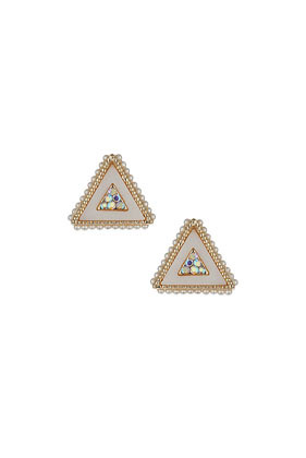 Small Stone Triangle Earrings - predominant colour: gold; occasions: casual, evening, occasion; style: stud; length: short; size: small/fine; material: chain/metal; fastening: pierced; finish: plain; embellishment: jewels/stone; season: s/s 2014