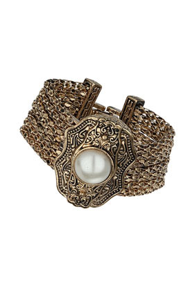 Engraved Multi Row Bracelet - secondary colour: ivory/cream; predominant colour: gold; occasions: evening, occasion; style: cuff; size: large/oversized; material: chain/metal; finish: metallic; embellishment: pearls; trends: shimmery metallics; season: s/s 2014