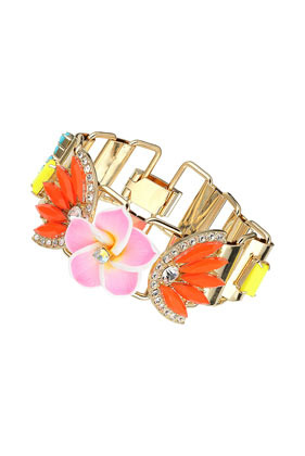 Pink Flower Link Bracelet - occasions: evening, occasion; predominant colour: multicoloured; style: bangle/standard; size: standard; material: chain/metal; finish: plain; embellishment: jewels/stone; season: s/s 2014; multicoloured: multicoloured