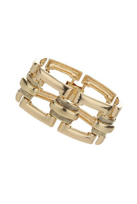 Large Square Link Bracelet - predominant colour: gold; occasions: casual, evening, occasion, creative work; style: chain; size: large/oversized; material: chain/metal; finish: metallic; season: s/s 2014