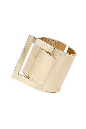 Buckle Hinged Cuff Bracelet - predominant colour: gold; occasions: evening, occasion, creative work; style: cuff; size: large/oversized; material: chain/metal; finish: metallic; season: s/s 2014