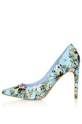 Glory Floral Print High Shoes - predominant colour: pale blue; occasions: evening, occasion, creative work; material: leather; heel: stiletto; toe: pointed toe; style: courts; finish: plain; pattern: florals; heel height: very high; trends: furious florals; season: s/s 2014