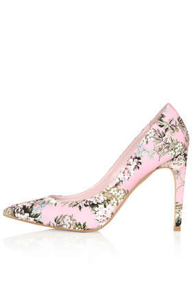 Glory Floral Print High Shoes - predominant colour: pink; occasions: evening, occasion, creative work; material: leather; heel: stiletto; toe: pointed toe; style: courts; finish: plain; pattern: florals; heel height: very high; trends: sorbet shades, furious florals; season: s/s 2014
