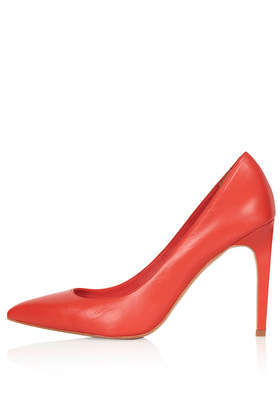 Glory High Shoes - predominant colour: true red; occasions: casual, evening, occasion, creative work; material: leather; heel: stiletto; toe: pointed toe; style: courts; finish: plain; pattern: plain; heel height: very high; trends: hot brights; season: s/s 2014
