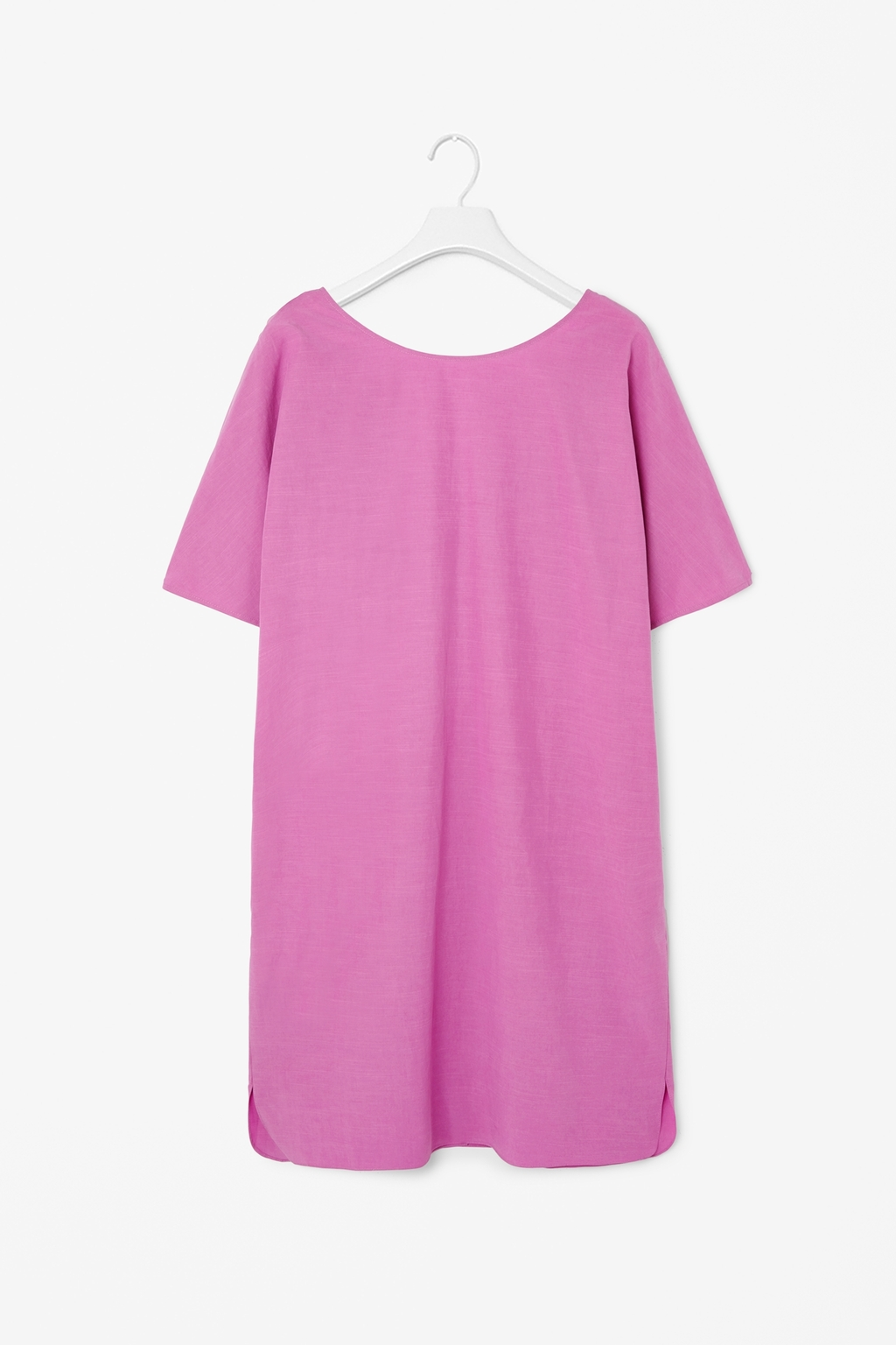 Dress With Low Back - style: tunic; neckline: round neck; pattern: plain; back detail: back revealing; predominant colour: pink; occasions: casual, evening, holiday; length: just above the knee; fit: straight cut; fibres: cotton - mix; sleeve length: short sleeve; sleeve style: standard; texture group: cotton feel fabrics; pattern type: fabric; trends: sorbet shades; season: s/s 2014