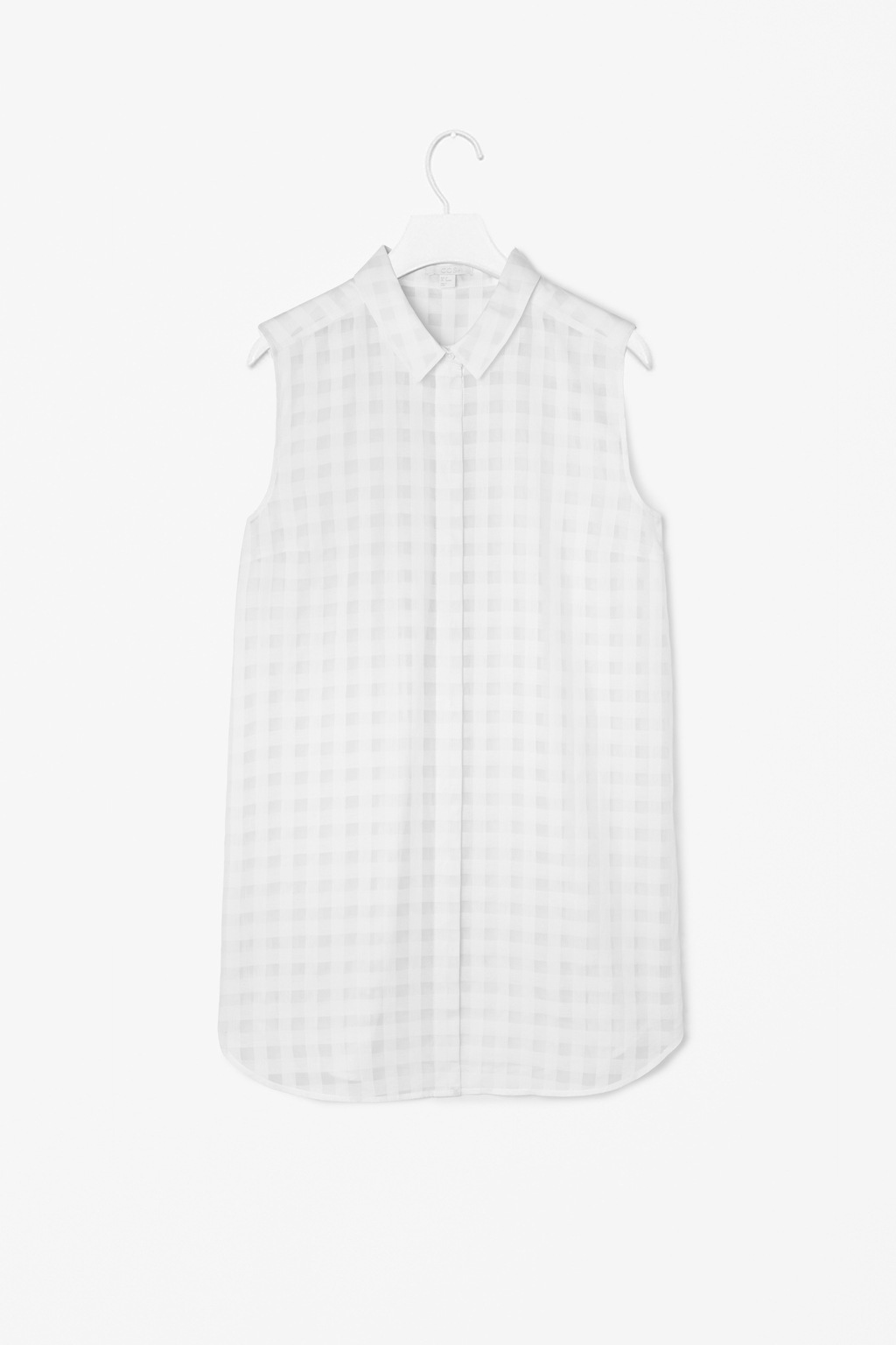 Sheer Checked Shirt - neckline: shirt collar/peter pan/zip with opening; sleeve style: sleeveless; pattern: checked/gingham; length: below the bottom; style: shirt; predominant colour: ivory/cream; secondary colour: light grey; occasions: casual, holiday, creative work; fibres: cotton - mix; fit: straight cut; sleeve length: sleeveless; pattern type: fabric; pattern size: light/subtle; texture group: other - light to midweight; season: s/s 2014