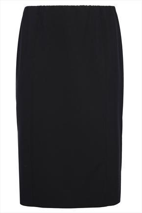 Black Pull On Bi Stretch Panelled Midi Skirt - pattern: plain; style: pencil; fit: tailored/fitted; waist: high rise; predominant colour: black; occasions: work; length: on the knee; fibres: polyester/polyamide - 100%; pattern type: fabric; texture group: other - light to midweight; season: s/s 2014