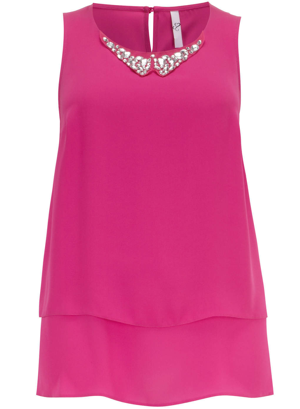 Pink Jewel Peter Pan Shell Top - neckline: round neck; pattern: plain; sleeve style: sleeveless; length: below the bottom; predominant colour: hot pink; occasions: casual, evening; style: top; fibres: polyester/polyamide - 100%; fit: loose; sleeve length: sleeveless; texture group: sheer fabrics/chiffon/organza etc.; pattern type: fabric; embellishment: jewels/stone; season: s/s 2014; wardrobe: highlight; embellishment location: neck