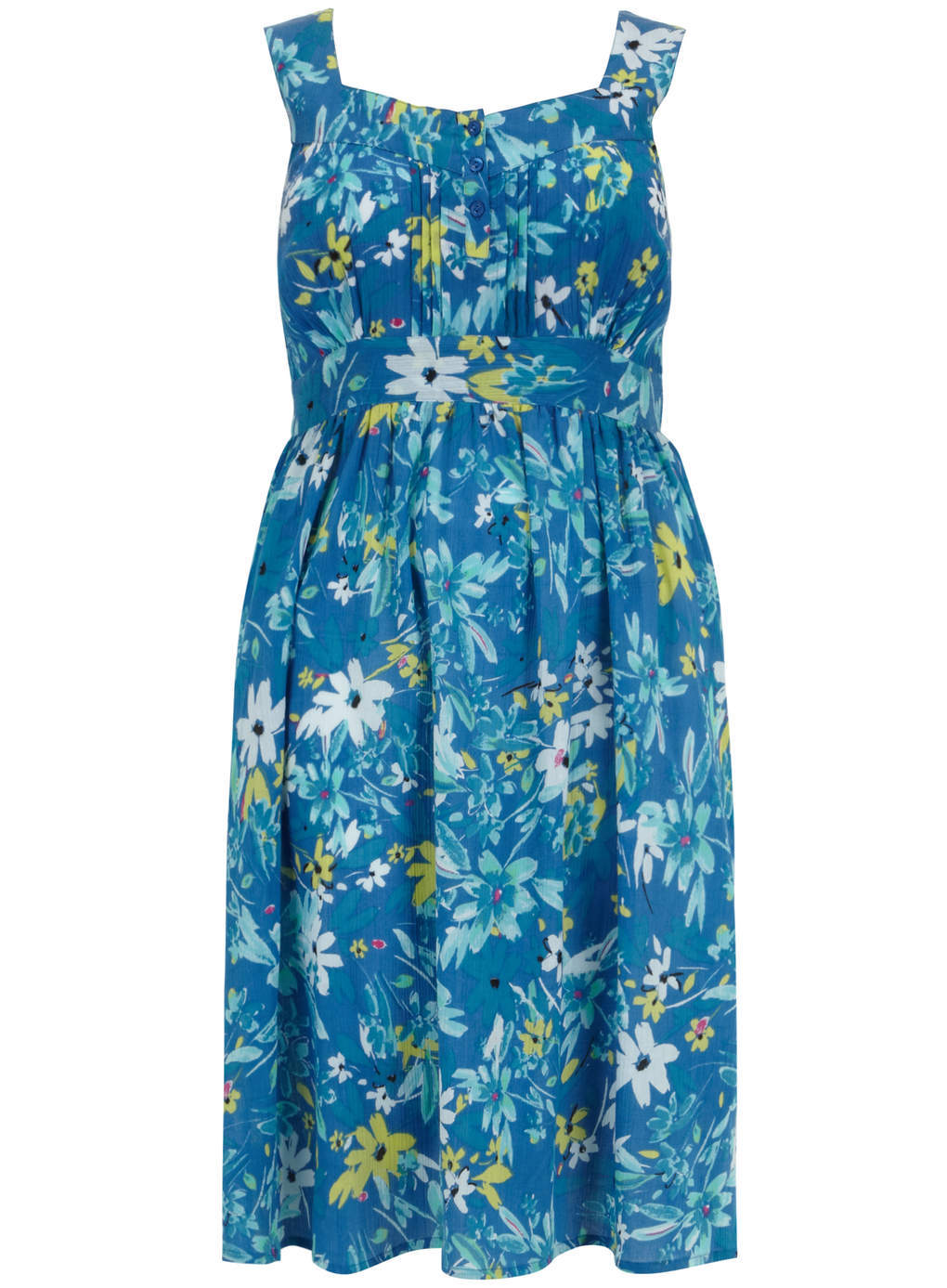 Blue Floral Print Cotton Crinkle Midi Dress - style: shift; neckline: round neck; sleeve style: sleeveless; secondary colour: white; predominant colour: diva blue; occasions: casual, holiday; length: just above the knee; fit: fitted at waist & bust; fibres: cotton - 100%; sleeve length: sleeveless; texture group: cotton feel fabrics; pattern type: fabric; pattern size: big & busy; pattern: florals; season: s/s 2014
