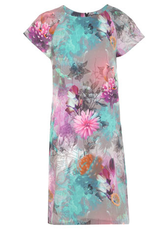 Digital Print Dress - style: shift; sleeve style: raglan; secondary colour: lilac; predominant colour: pistachio; occasions: casual, evening; length: just above the knee; fit: straight cut; fibres: polyester/polyamide - 100%; neckline: crew; sleeve length: short sleeve; texture group: crepes; pattern type: fabric; pattern size: standard; pattern: florals; trends: furious florals; season: s/s 2014