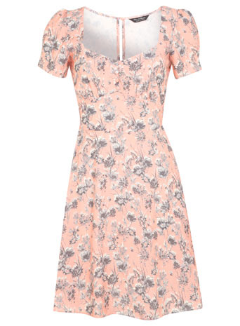 Peach Floral Tea Dress - length: mid thigh; sleeve style: puffed; neckline: sweetheart; predominant colour: nude; secondary colour: light grey; occasions: casual, creative work; fit: fitted at waist & bust; style: fit & flare; fibres: polyester/polyamide - 100%; sleeve length: short sleeve; texture group: crepes; pattern type: fabric; pattern size: standard; pattern: florals; season: s/s 2014