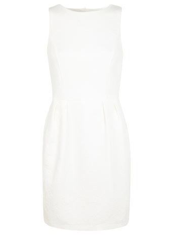 Tulip Dress - style: shift; length: mid thigh; neckline: slash/boat neckline; fit: tailored/fitted; pattern: plain; sleeve style: sleeveless; predominant colour: white; occasions: evening, occasion; fibres: cotton - mix; sleeve length: sleeveless; pattern type: fabric; texture group: woven light midweight; season: s/s 2014