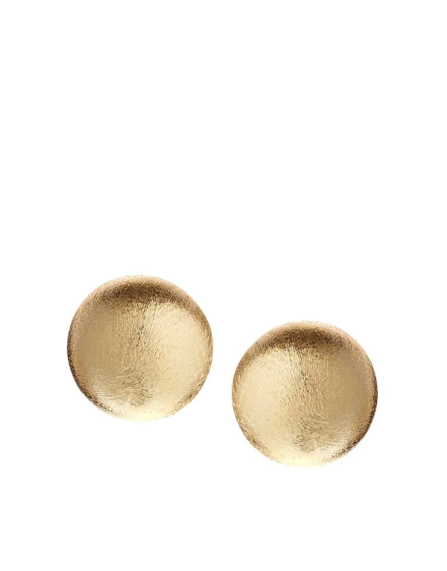 Limited Edition Statement Bead Stud Earrings Gold - predominant colour: gold; occasions: casual, evening, creative work; style: stud; length: short; size: small/fine; material: chain/metal; fastening: pierced; finish: metallic; season: s/s 2014