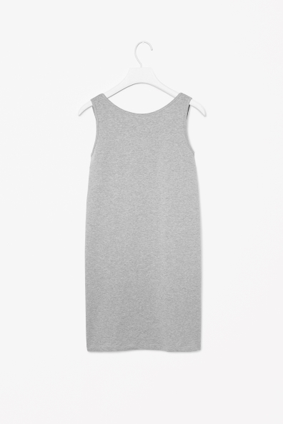 Dress With Low Back - length: mid thigh; neckline: round neck; pattern: plain; sleeve style: sleeveless; style: vest; back detail: back revealing; predominant colour: light grey; occasions: casual, holiday; fit: soft a-line; fibres: cotton - stretch; sleeve length: sleeveless; pattern type: fabric; texture group: jersey - stretchy/drapey; season: s/s 2014