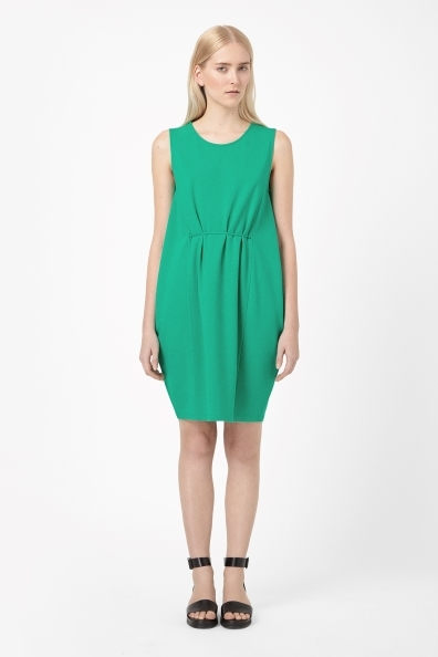 Jersey Tie Waist Dress - length: mid thigh; neckline: round neck; fit: loose; pattern: plain; sleeve style: sleeveless; back detail: tie at back; style: lantern shaped; predominant colour: emerald green; occasions: casual, creative work; fibres: viscose/rayon - stretch; sleeve length: sleeveless; pattern type: fabric; texture group: jersey - stretchy/drapey; trends: hot brights; season: s/s 2014