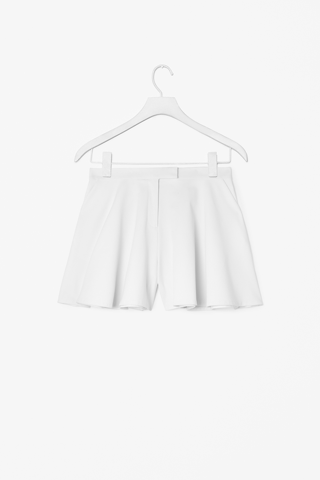 Flared Shorts - pattern: plain; pocket detail: pockets at the sides; waist: mid/regular rise; predominant colour: white; occasions: casual, evening, holiday; fibres: polyester/polyamide - stretch; texture group: crepes; pattern type: fabric; season: s/s 2014; style: culotte; length: short shorts; fit: a-line