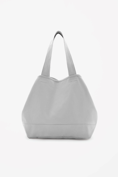 Cotton Beach Bag - predominant colour: light grey; occasions: casual, holiday; type of pattern: standard; length: handle; size: oversized; material: fabric; pattern: plain; finish: plain; style: hobo; season: s/s 2014