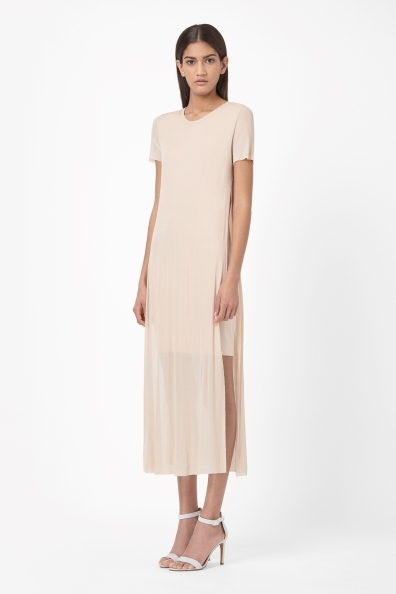 Jersey Sheer Layer - length: calf length; neckline: round neck; pattern: plain; style: maxi dress; predominant colour: nude; occasions: evening, creative work; fit: body skimming; fibres: viscose/rayon - 100%; hip detail: slits at hip; sleeve length: short sleeve; sleeve style: standard; pattern type: fabric; texture group: jersey - stretchy/drapey; trends: sorbet shades; season: s/s 2014