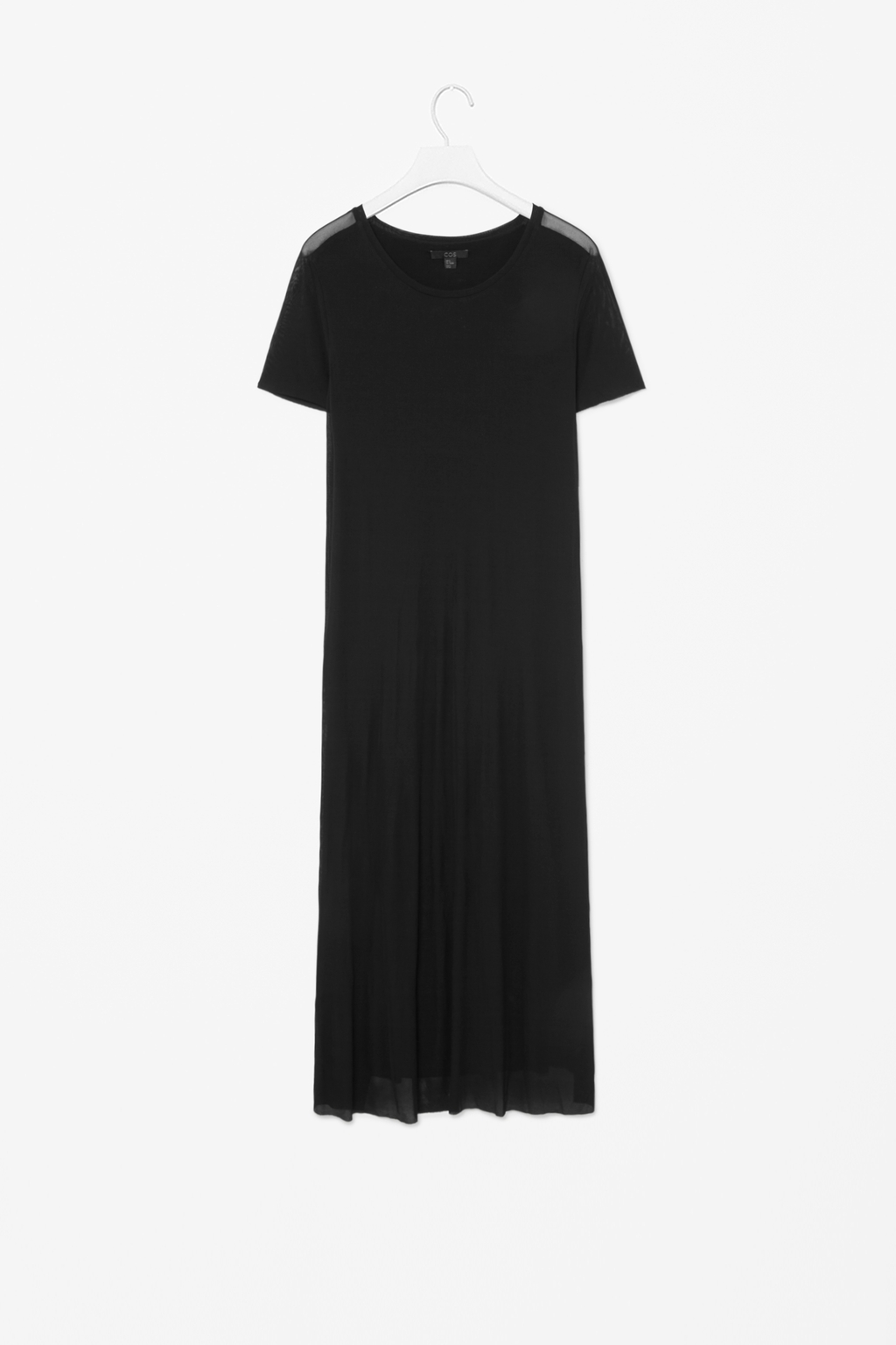 Jersey Sheer Layer - style: t-shirt; length: calf length; neckline: round neck; pattern: plain; predominant colour: black; occasions: casual, evening, creative work; fit: body skimming; fibres: viscose/rayon - 100%; sleeve length: short sleeve; sleeve style: standard; pattern type: fabric; texture group: jersey - stretchy/drapey; season: s/s 2014