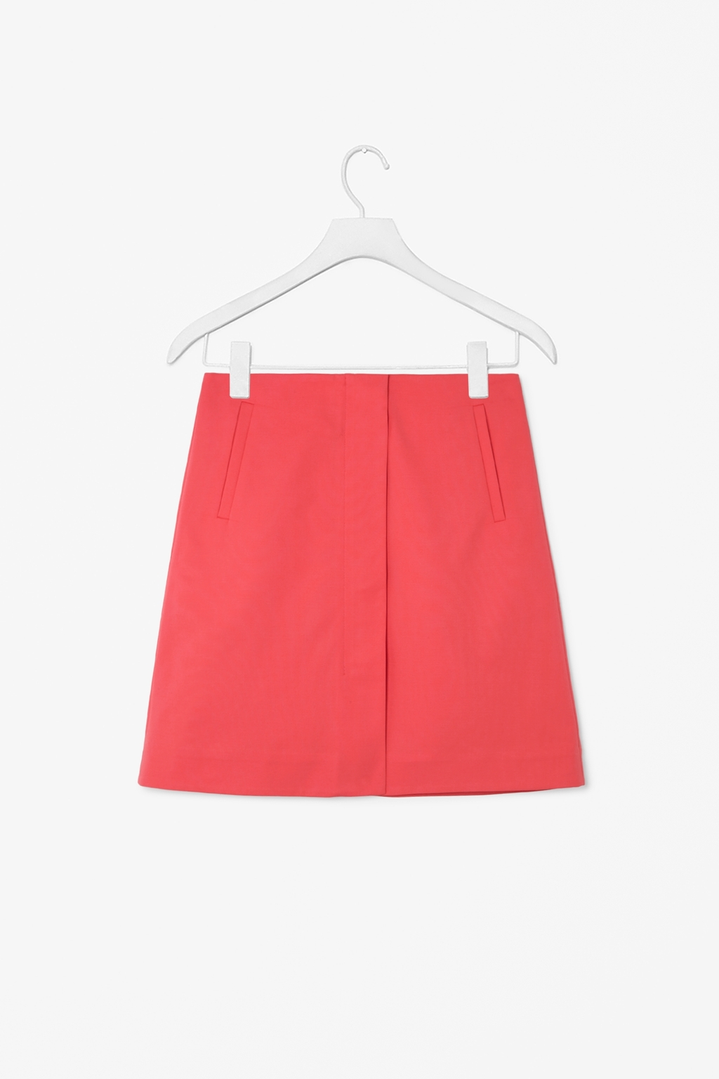 Skirt With Front Zip - pattern: plain; fit: loose/voluminous; waist: mid/regular rise; predominant colour: coral; occasions: casual, creative work; length: just above the knee; style: a-line; fibres: cotton - stretch; texture group: cotton feel fabrics; pattern type: fabric; season: s/s 2014