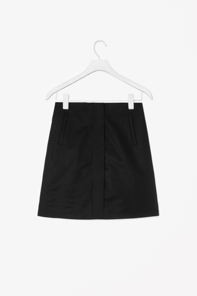 Skirt With Front Zip - pattern: plain; fit: loose/voluminous; waist: mid/regular rise; predominant colour: black; occasions: casual, creative work; length: just above the knee; style: a-line; fibres: cotton - stretch; texture group: cotton feel fabrics; pattern type: fabric; season: s/s 2014