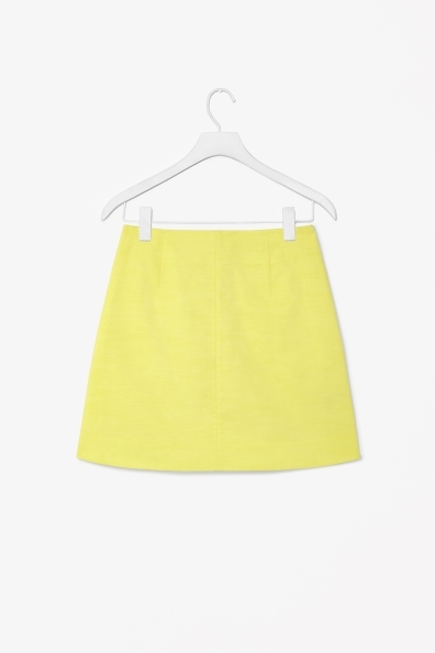 Short A Line Skirt - length: mini; pattern: plain; fit: loose/voluminous; waist: high rise; predominant colour: yellow; occasions: casual, creative work; style: a-line; fibres: cotton - 100%; texture group: cotton feel fabrics; pattern type: fabric; trends: hot brights; season: s/s 2014