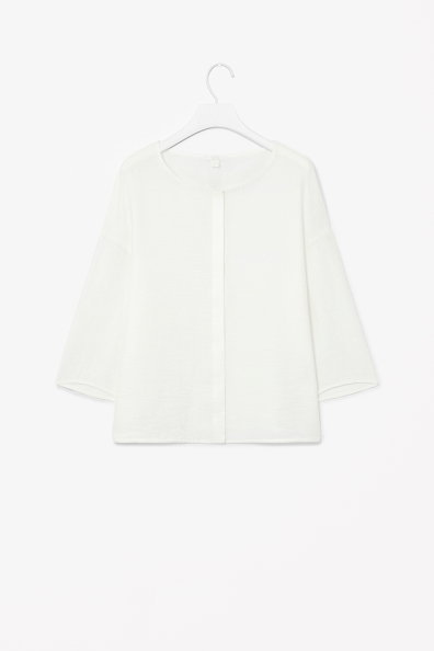 Textured Crepe Shirt - neckline: round neck; pattern: plain; style: shirt; predominant colour: white; occasions: casual, evening, work, creative work; length: standard; fit: straight cut; sleeve length: 3/4 length; sleeve style: standard; texture group: crepes; pattern type: fabric; fibres: viscose/rayon - mix; season: s/s 2014