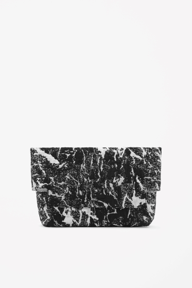 Reversible Jacquard Clutch - secondary colour: white; predominant colour: black; occasions: evening, occasion, creative work; type of pattern: heavy; style: clutch; length: hand carry; size: standard; material: fabric; pattern: plain; finish: plain; season: s/s 2014; trends: monochrome