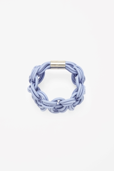Braided Loops Bracelet - predominant colour: pale blue; secondary colour: silver; occasions: casual; style: bangle/standard; size: standard; material: plastic/rubber; finish: plain; trends: sorbet shades; season: s/s 2014