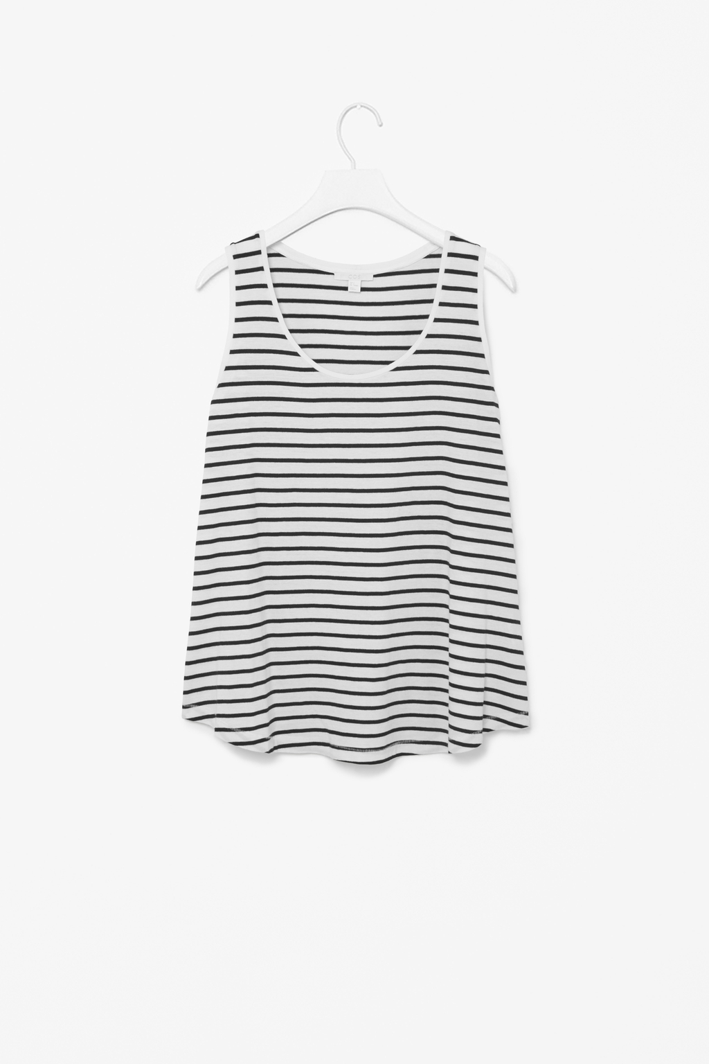 A Line Cotton Vest - sleeve style: standard vest straps/shoulder straps; pattern: horizontal stripes; style: vest top; secondary colour: white; predominant colour: black; occasions: casual; length: standard; neckline: scoop; fibres: cotton - 100%; fit: loose; sleeve length: sleeveless; pattern type: fabric; texture group: jersey - stretchy/drapey; season: s/s 2014; pattern size: big & busy (top)