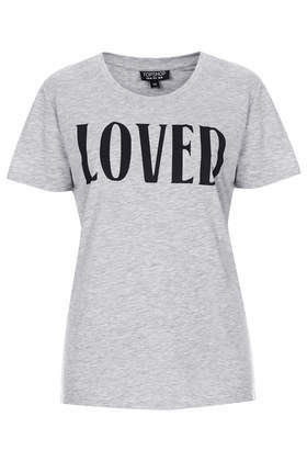 Loved Tee - neckline: round neck; style: t-shirt; predominant colour: mid grey; secondary colour: black; occasions: casual, creative work; length: standard; fibres: polyester/polyamide - mix; fit: body skimming; sleeve length: short sleeve; sleeve style: standard; pattern type: fabric; pattern size: standard; pattern: patterned/print; texture group: jersey - stretchy/drapey; season: s/s 2014