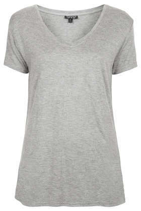 Viscose V Tee - neckline: v-neck; pattern: plain; style: t-shirt; predominant colour: light grey; occasions: casual, holiday, creative work; length: standard; fibres: viscose/rayon - 100%; fit: body skimming; sleeve length: short sleeve; sleeve style: standard; pattern type: fabric; texture group: jersey - stretchy/drapey; season: s/s 2014