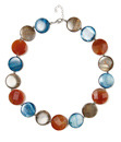 Semi Precious Shell/Disc Necklace - occasions: casual, evening, occasion, creative work; predominant colour: multicoloured; length: short; size: standard; material: plastic/rubber; finish: metallic; embellishment: jewels/stone; season: s/s 2014; multicoloured: multicoloured; style: bead