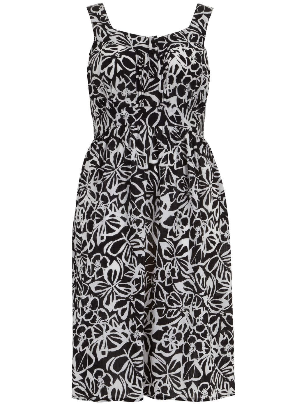 Evasn Black Butterfly Print Midi Dress - length: mid thigh; sleeve style: standard vest straps/shoulder straps; fit: fitted at waist; style: sundress; neckline: sweetheart; secondary colour: white; predominant colour: black; occasions: casual, holiday; fibres: cotton - 100%; hip detail: subtle/flattering hip detail; sleeve length: sleeveless; pattern type: fabric; pattern size: standard; pattern: patterned/print; texture group: jersey - stretchy/drapey; season: s/s 2014; trends: monochrome