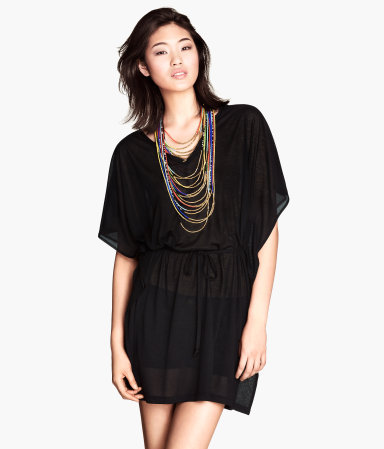 Beach Tunic - neckline: low v-neck; sleeve style: dolman/batwing; pattern: plain; length: below the bottom; style: kaftan; waist detail: belted waist/tie at waist/drawstring; predominant colour: black; fibres: polyester/polyamide - 100%; fit: loose; sleeve length: half sleeve; texture group: sheer fabrics/chiffon/organza etc.; occasions: holiday; pattern type: fabric; season: s/s 2014